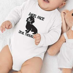 Angel Face Devil Thoughts Baby bodysuit