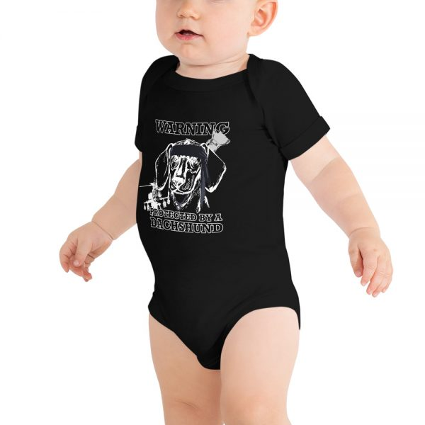 Protected by a Dachshund Baby bodysuit 5