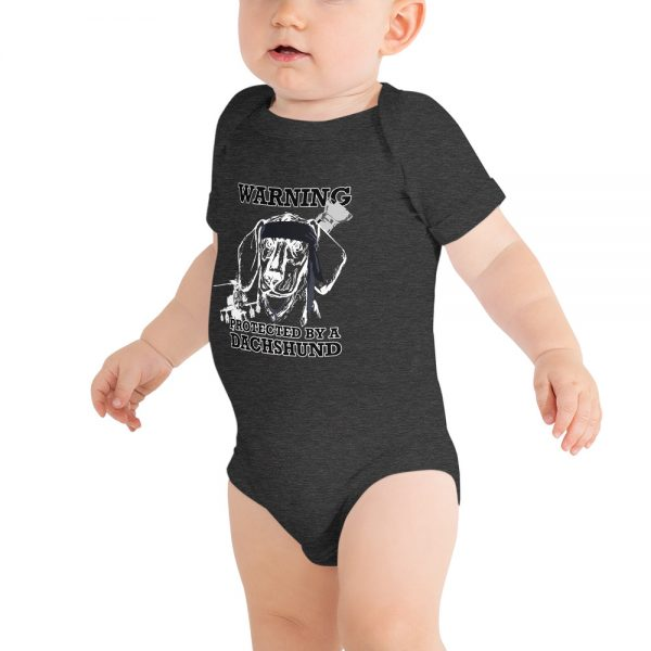 Protected by a Dachshund Baby bodysuit 1
