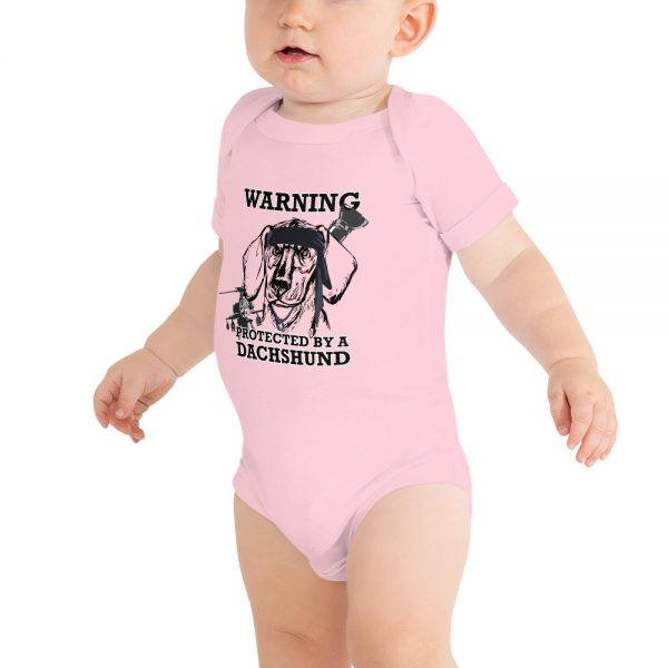 Protected by a Dachshund Baby bodysuit 3