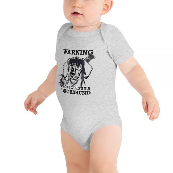 Protected by a Dachshund Baby bodysuit 2
